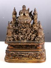 Rare 18 C Japanese Gold Lacquer Buddha & Court