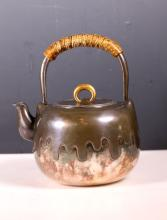 Fine 19th C Japanese Silver Teapot; Gold Loop