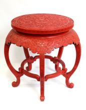 Chinese Qing Cinnabar Lacquer Dragon Center Table
