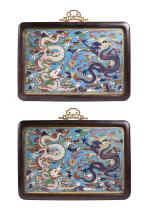 Two Chinese Qing Double Dragon Cloisonne Plaques