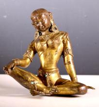 Gilt Bronze of Hindu Goddess Parvati, 17/18 C