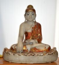 Indian White Marble Seated Figure on Lotus