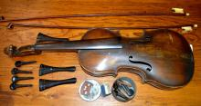 Antique American Violin and 2 Antique Bows