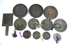 12 - Antique Bronze Chinese and Japanese Mirrors
