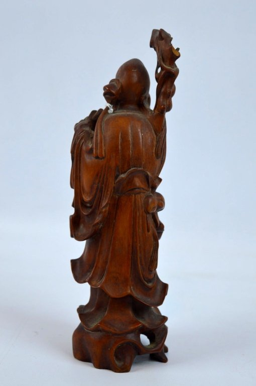 Well carved chinese boxwood figure of shouxing