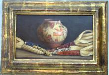 "William Acheff; Taos NM Oil/Canvas ""Maize & Pot"""