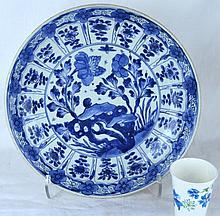 Chinese Porcelain B & W Charger, Kangxi