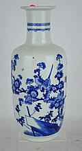 Chinese Porcelain B & W Rouleau Vase