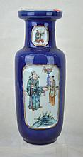 Chinese Porcelain Blue & Rose Vase, Tongzhi