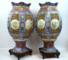 Pr Late Qing Chinese Enameled Porcelain Lanterns
