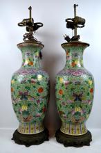 Fine Pr Chinese Republic Enameled Porcelain Vases