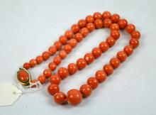 98.5Grams; Coral Graduated Round Bead Necklace