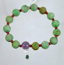 Good Chinese Carved Jadeite Bead Bracelet
