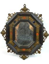 Good Antique Dutch Inlaid Octagon Mirror