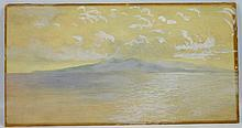 W J Holland; Water Color Martinique, Mt Pelee 1912