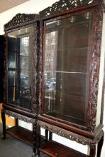 Pair Chinese Carved Hardwood Cabinets on Stands