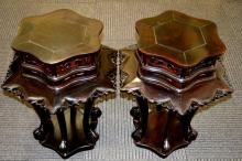 Pr Large Chinese Black Wood Hexagonal Plant Stands