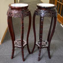 Pair Chinese Marble Inlaid Hardwood Round Tables