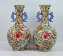 Fine Pr Chinese Mille-Fleur Porcelain Vases