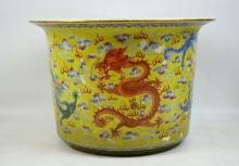 19C Chinese Yellow Glaze Porcelain Dragon Planter