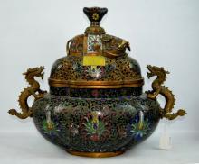 Large 18/19 C Chinese Gilt Bronze Cloisonne Censer