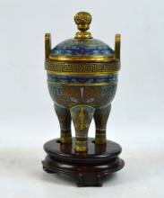 Fine Qing Chinese Gilt Bronze Cloisonne Censer