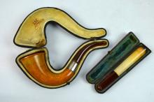 Amber & Probably Meerschaum Pipe & Cigar Holder