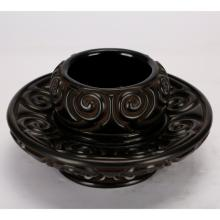 Chinese Guri Lacquer Cup Stand with Red Lines