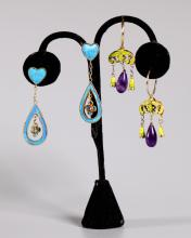 2 Pr Chinese Antique Drop Earrings