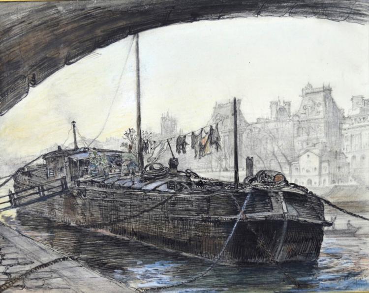 Pierre Cluzeau; Drawing: Houseboat, Paris, 1912
