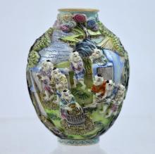 Good Chinese Enameled Porcelain Rice-Harvest Snuff