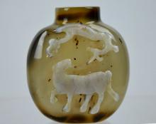 19th C Chinese Cameo Carved Agate Snuff