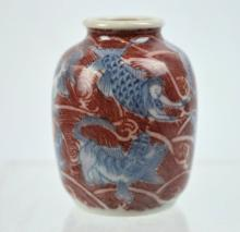 Old Chinese Underglaze Blue & Red Porcelain Snuff