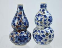 2 - 19th C Chinese Double Gourd Porcelain Snuffs