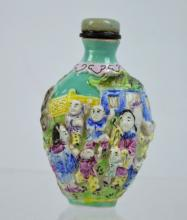 Well Molded Chinese Enameled Porcelain Snuff