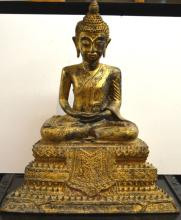 Large Thailand Gold Lacquered Bronze Seated Buddha