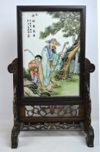 Chinese Enameled Porcelain & Wood Table Screen