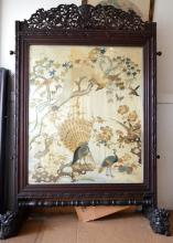 Large Late Qing Chinese Carved Hardwood Screen