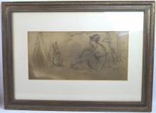 Frederick Stuart Church; Drawing; Rabbit & Girl