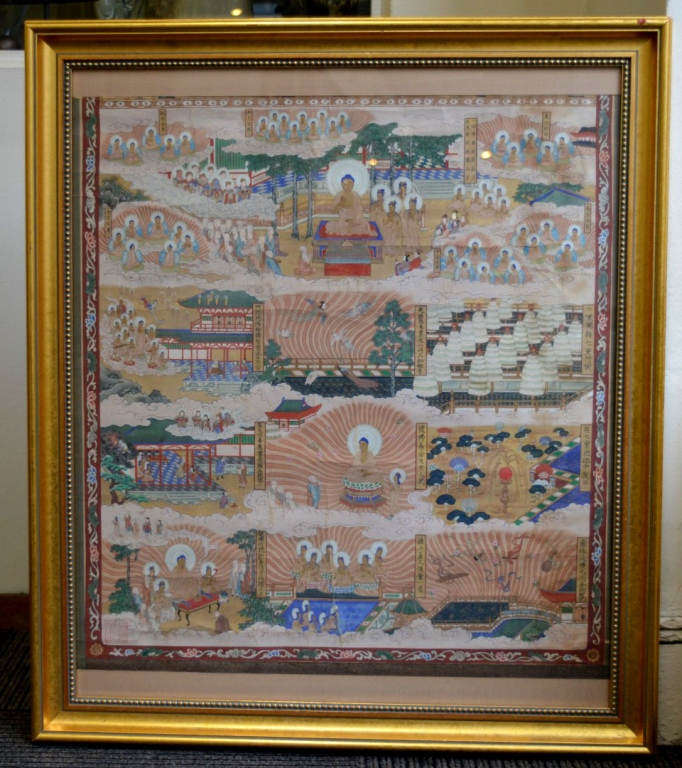 Antique Japanese Scroll: Antique Asian Buddhist Scroll Painting