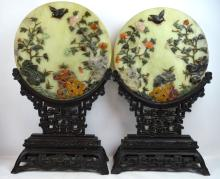 Large Pr Chinese Carved Hardstone Plaques & Stands