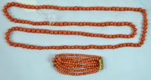 102 Grams of Coral Beads in Necklace & Bracelet