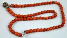 Coral Bead Necklace, Silver Closure, Weight 123G