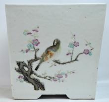 Qing Dynasty Chinese Cube-shaped Porcelain Planter