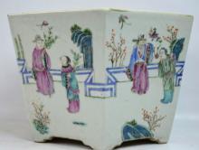 19C Chinese Hexagonal Porcelain Planter w Figures