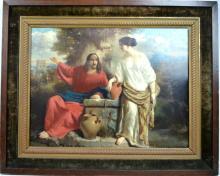 19C French Academic Oil Canvas; Christ & Samarian