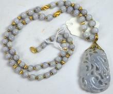 Chinese Carved Lavender Jadeite Pendant & Beads