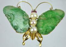 14K & Antique Jadeite Butterfly Pin