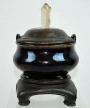 Early Qing Chinese Brown Glazed Ceramic Censer