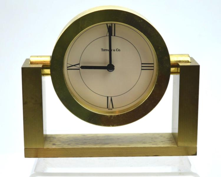 Tiffany Amp Co Solid Brass Desk Mantle Clock